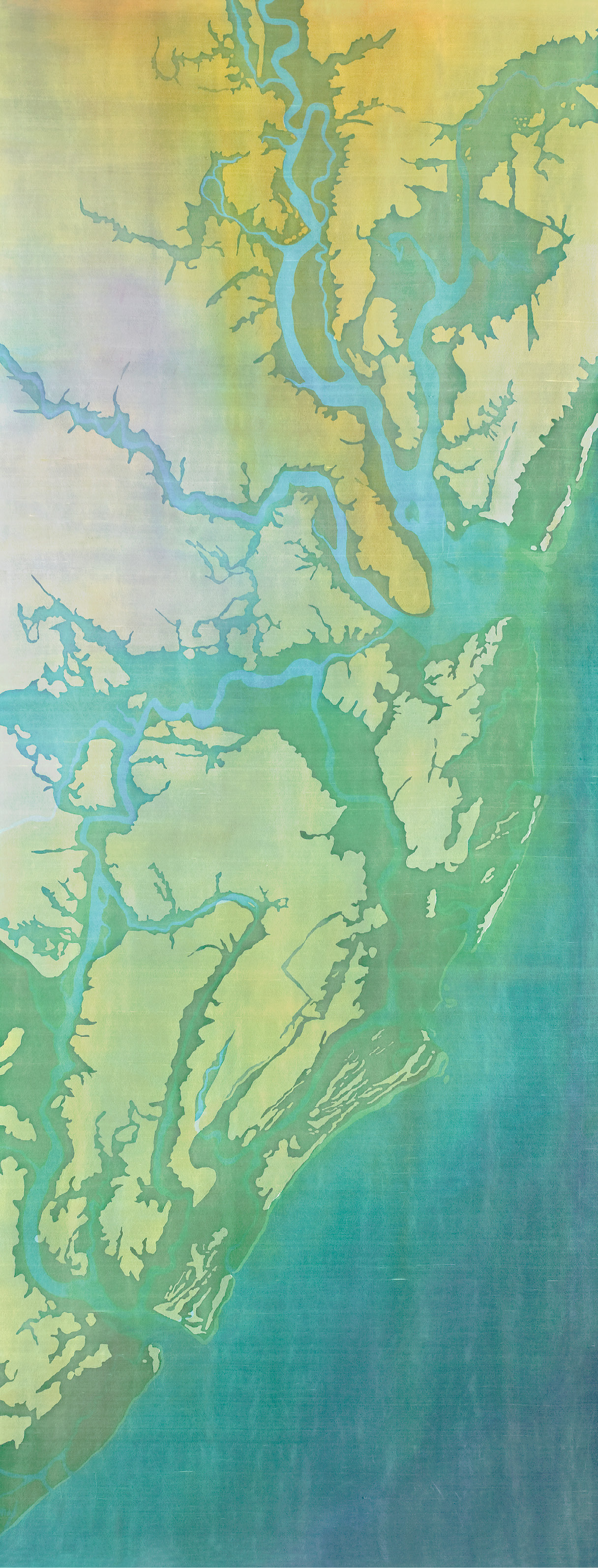 "Nature Acts: Fraser's batik, Charleston Airbourne Flooded (batik on silk, 97 x 35 inches, 2010) depicts NOAA's projections of the Lowcountry's 4.6-foot sea level rise by the year 2100. It will become a 98-foot centerpiece for ""Awakening V"" as it hangs on the Joseph Floyd Manor with the added words, ""We argue. Nature acts.""—a play off Voltaire; image courtesy of Mary Edna Fraser"