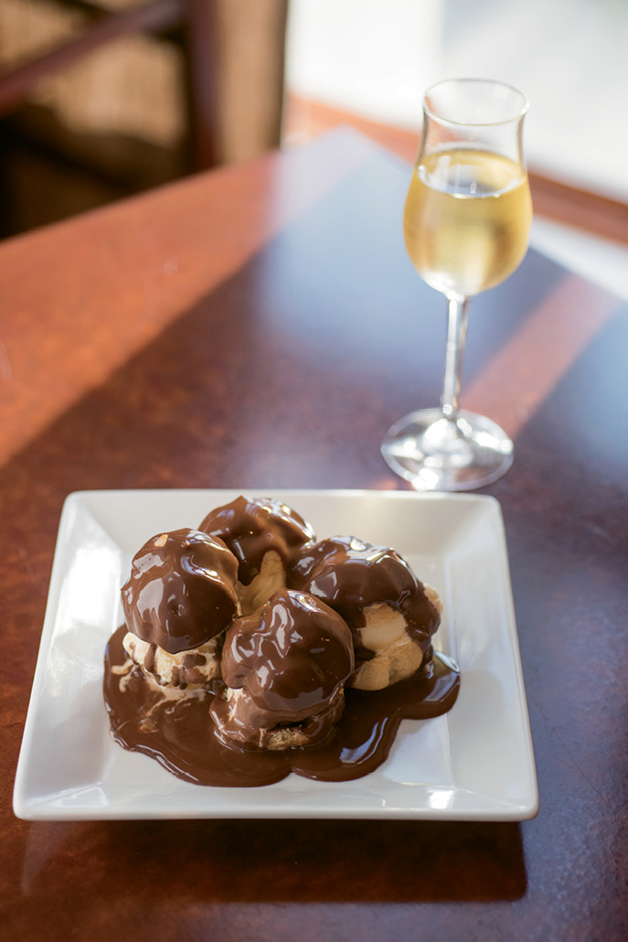 Classic French desserts include profiteroles, buttery puff pastries stuffed with ice cream.