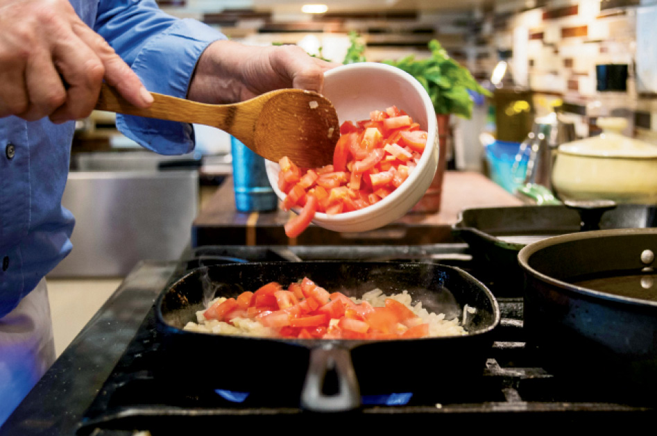Martin prefers using Roma tomatoes for sauce, because they're still fresh in November.