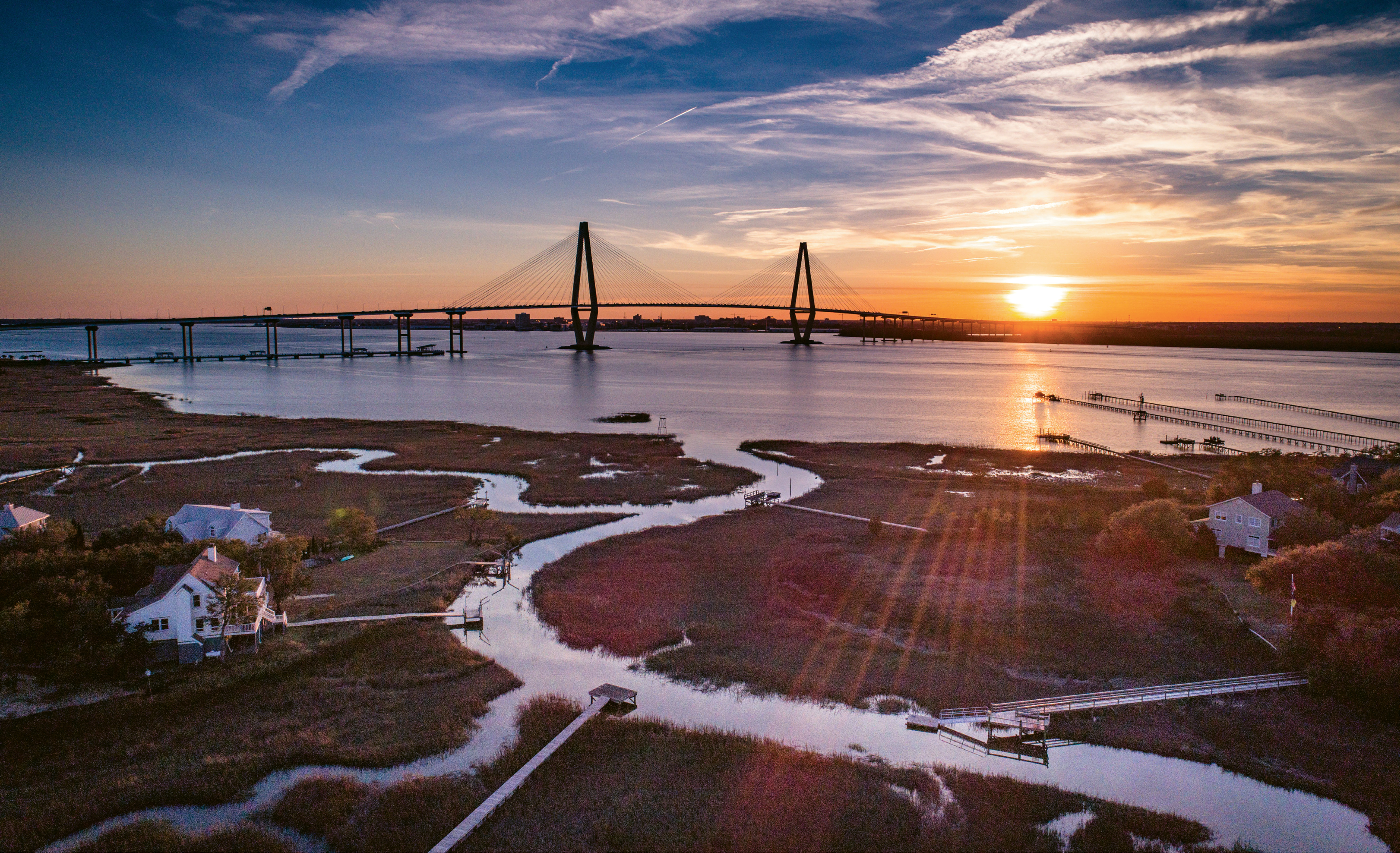 Sunset overlooking the Ravenel Bridge by Nicholas Skylar Holzworth  {Professional category}  - Taken from the Mount Pleasant side of the Cooper River in spring 2017