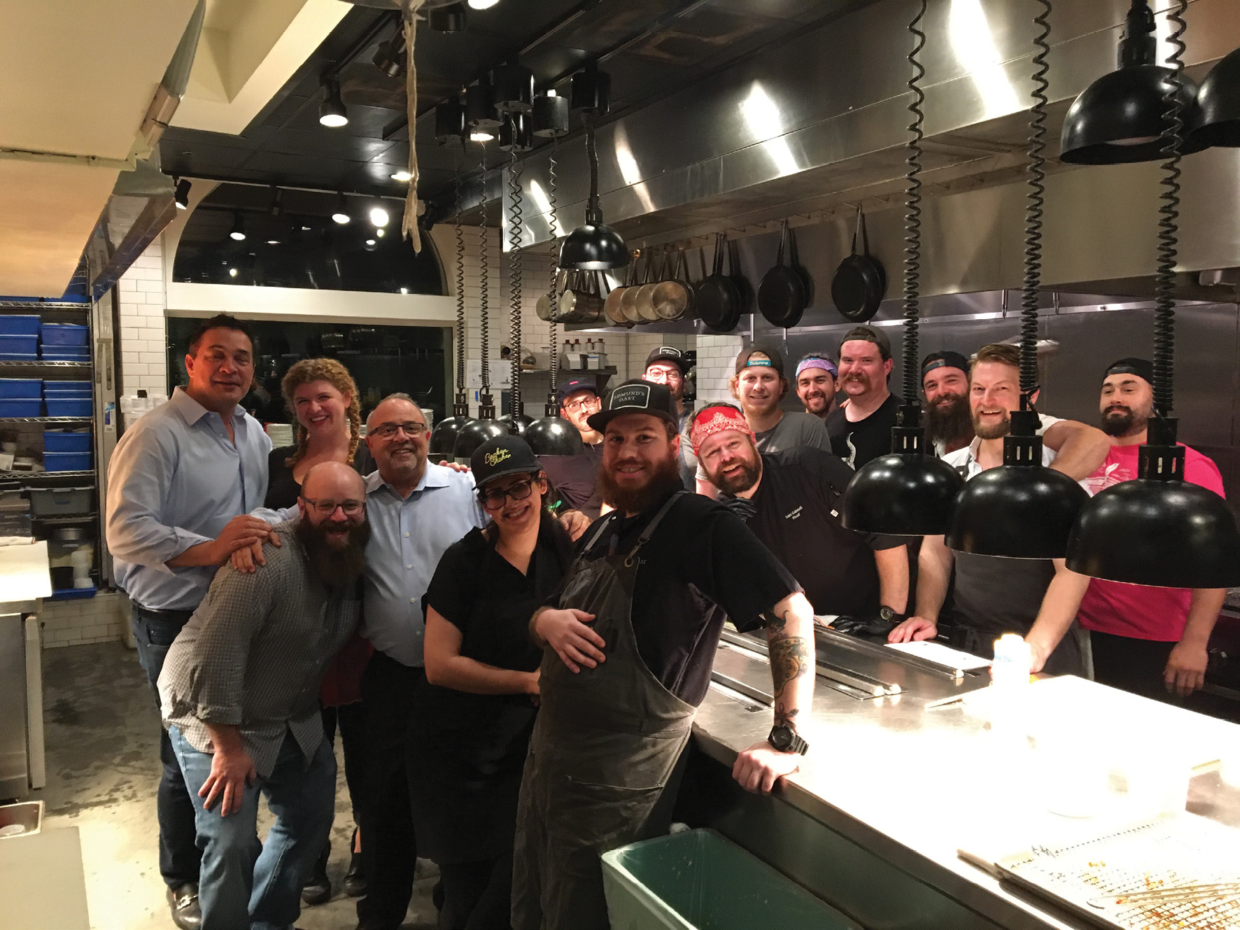 """Palmer and Bakst with the F&B crew who worked last fall's """"Switcheroo"""" at Edmund's Oast to benefit Ben's Friends"""
