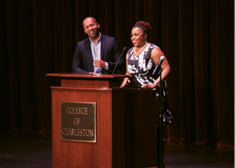 Avery executive director Dr. Patricia Williams Lessane welcomes legal activist Bryan Stevenson to the podium.
