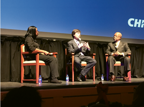 "Ken Burns (center) and Henry Louis Gates Jr. at the Gaillard Center for ""American Fault Line,"" a conversation moderated by Carolina Youth Development director Barbara Kelly Duncan (left) Photograph by Stephanie Hunt"