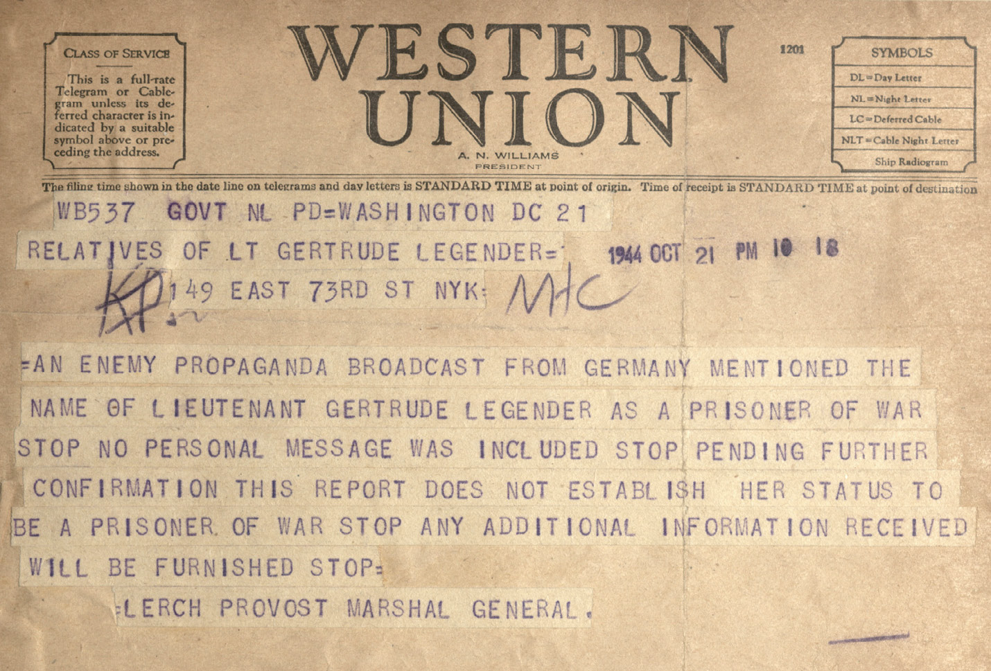 A telegram sent to Gertrude's family