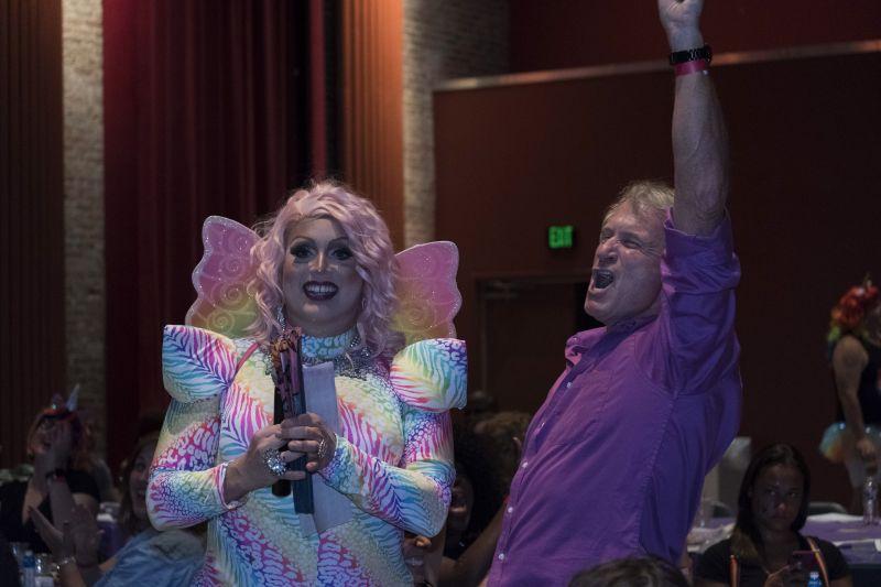 The night's bingo winners had no trouble celebrating their victory.