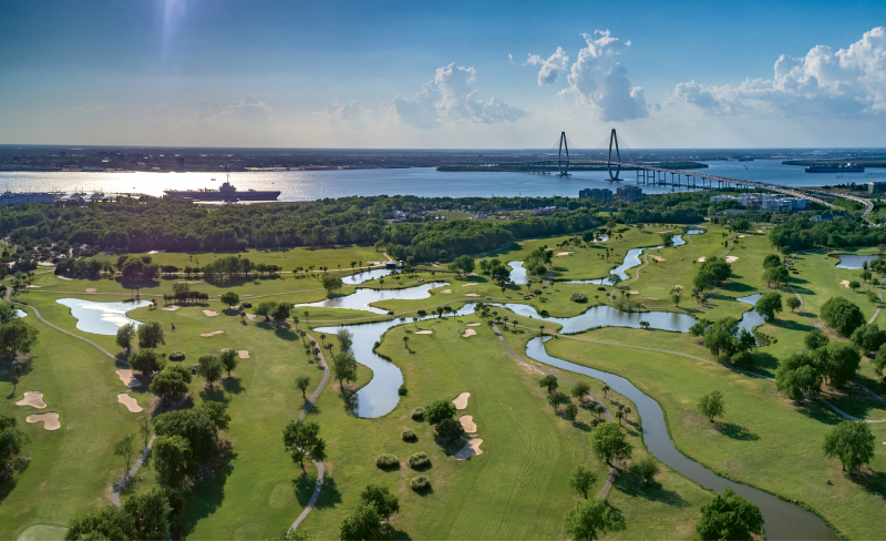 """Patriots Point Links"" {Altitude: 200 feet} High above Mount Pleasant's harborside golf course one April afternoon, with views of the USS Yorktown and downtown beyond"