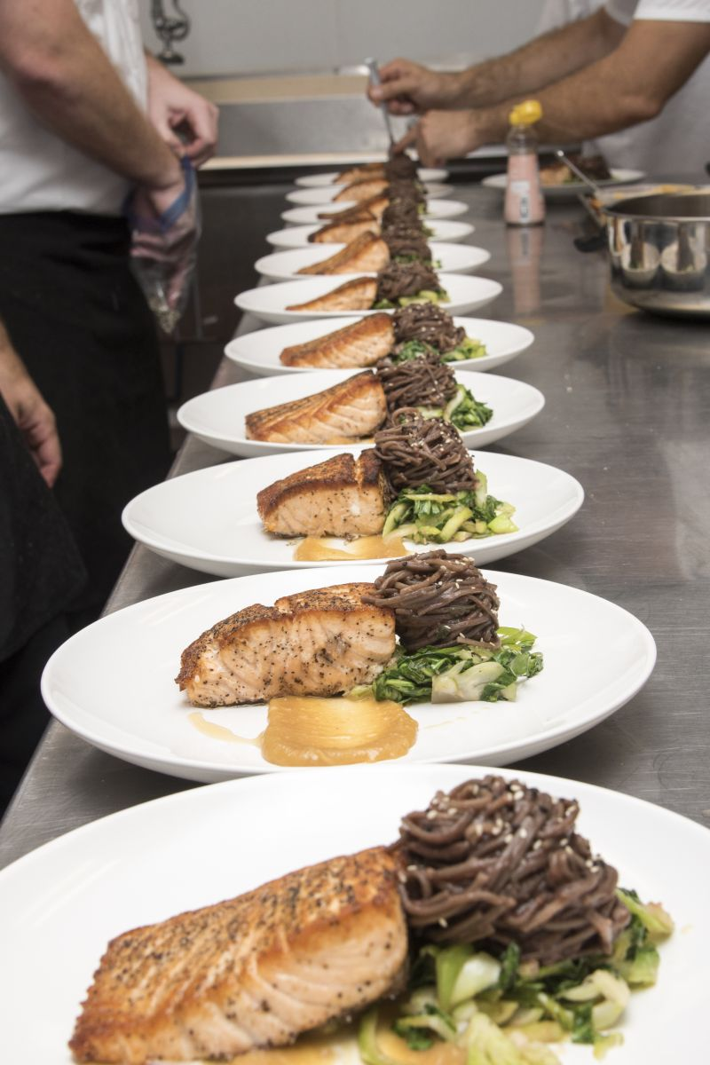 Each dish was perfectly plated before participants enjoyed the final product.