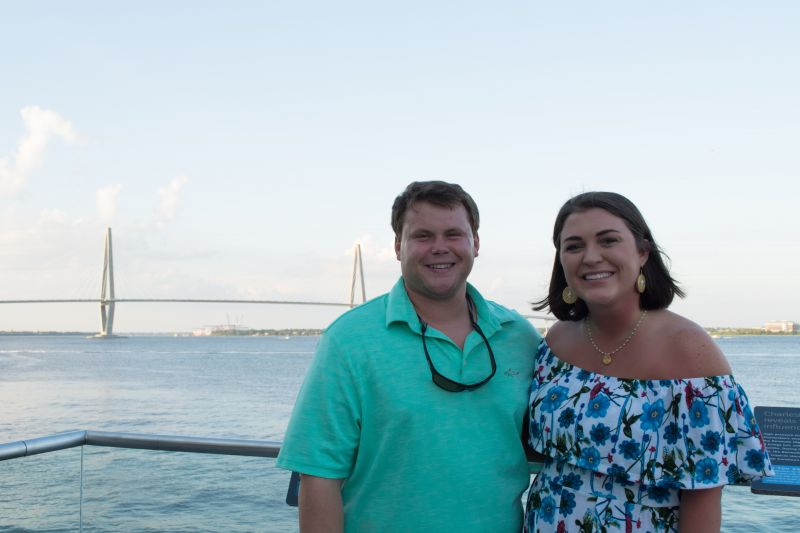 Partygoers enjoyed golden hour overlooking the Charleston harbor before continuing inside.