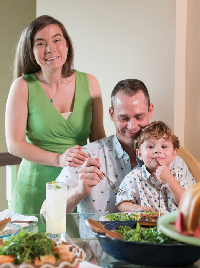 After a busy week, pastry chef Andrea Upchurch (left) joins husband Nate and son Dewey.