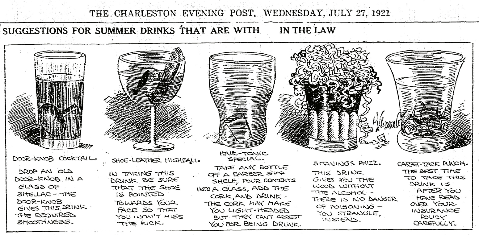 """More than a year into Prohibition, readers of The Charleston Evening Post no doubt appreciated cartoonist Rube Goldberg's """"mocktail"""" commentary on legal drinks."""