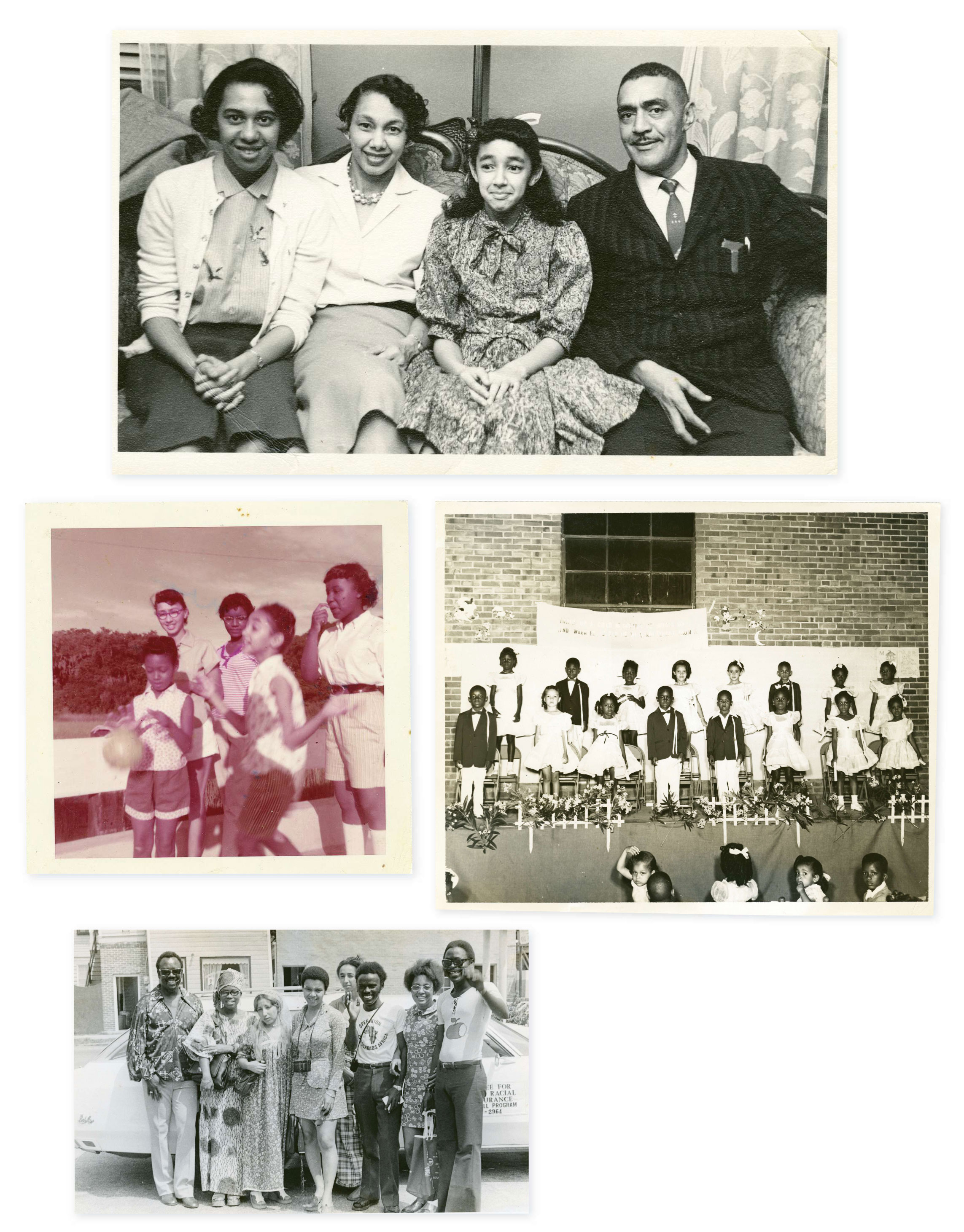"""Family Ties: The Browns lived amid a vibrant black middle-class neighborhood on the peninsula. """"There were black doctors, lawyers, business owners, well-to-do people and poor, too, but it was an intact community,"""" says Millicent. (Clockwise from top) With her parents, MaeDe and J. Arthur, and sister Minerva, the original plaintiff in the school suit; at an A. B. Rhett School program in 1954; working with Operation Crossroads Africa in the 1970s (the program was sponsored by the State Department to expose Africans to Lowcountry culture); with older sister Joenelle (far left, back) circa 1957 at a black-owned resort in the Catskill Mountains frequented by the Brown family"""