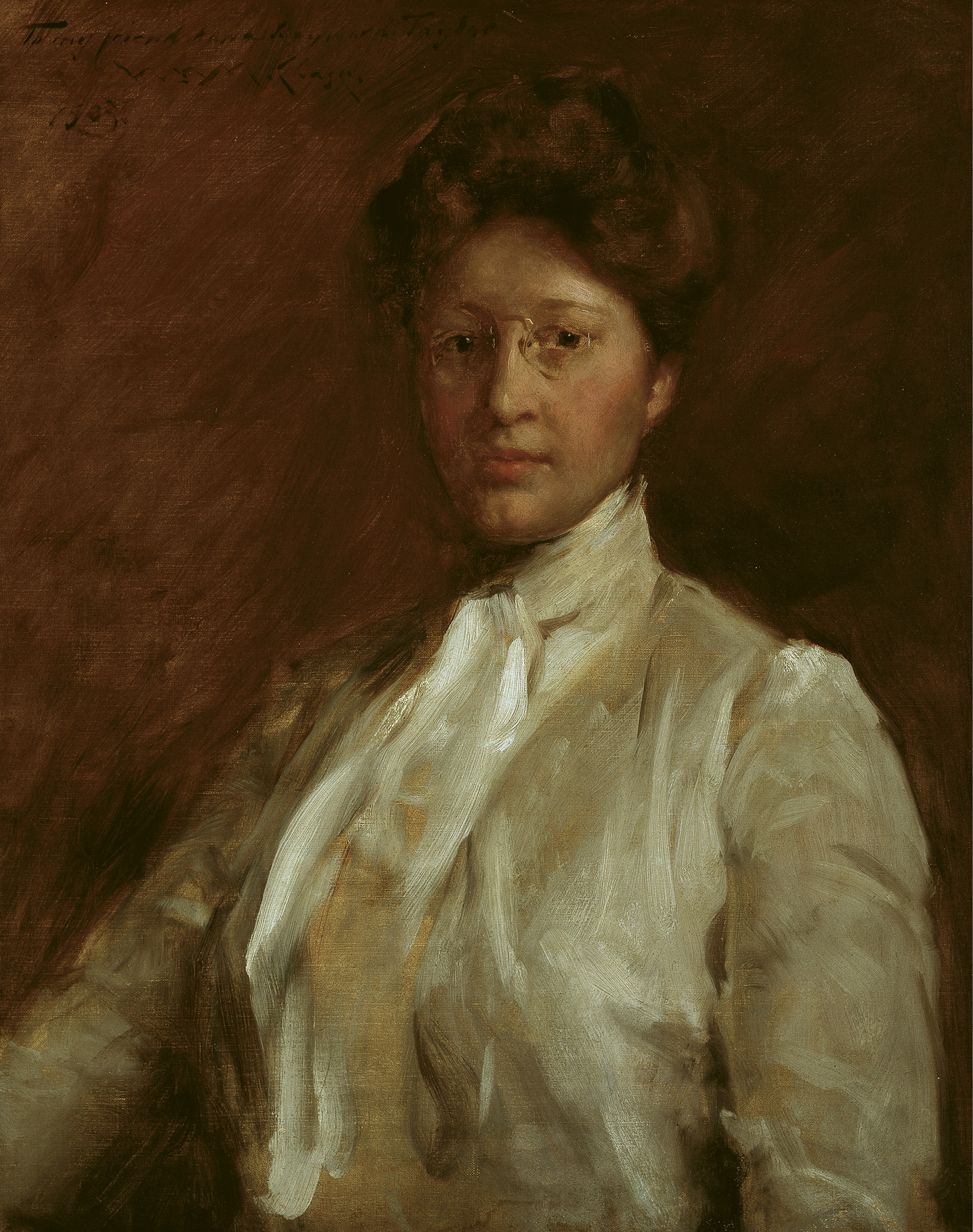 Taylor studied with renowned portrait artist and American Impressionist William Merritt Chase in Holland during the summer of 1903. Chase later visited her family in Columbia and painted three portraits of them, including this one of Anna.