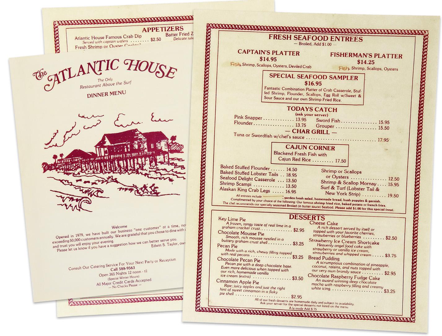 The Atlantic House menu