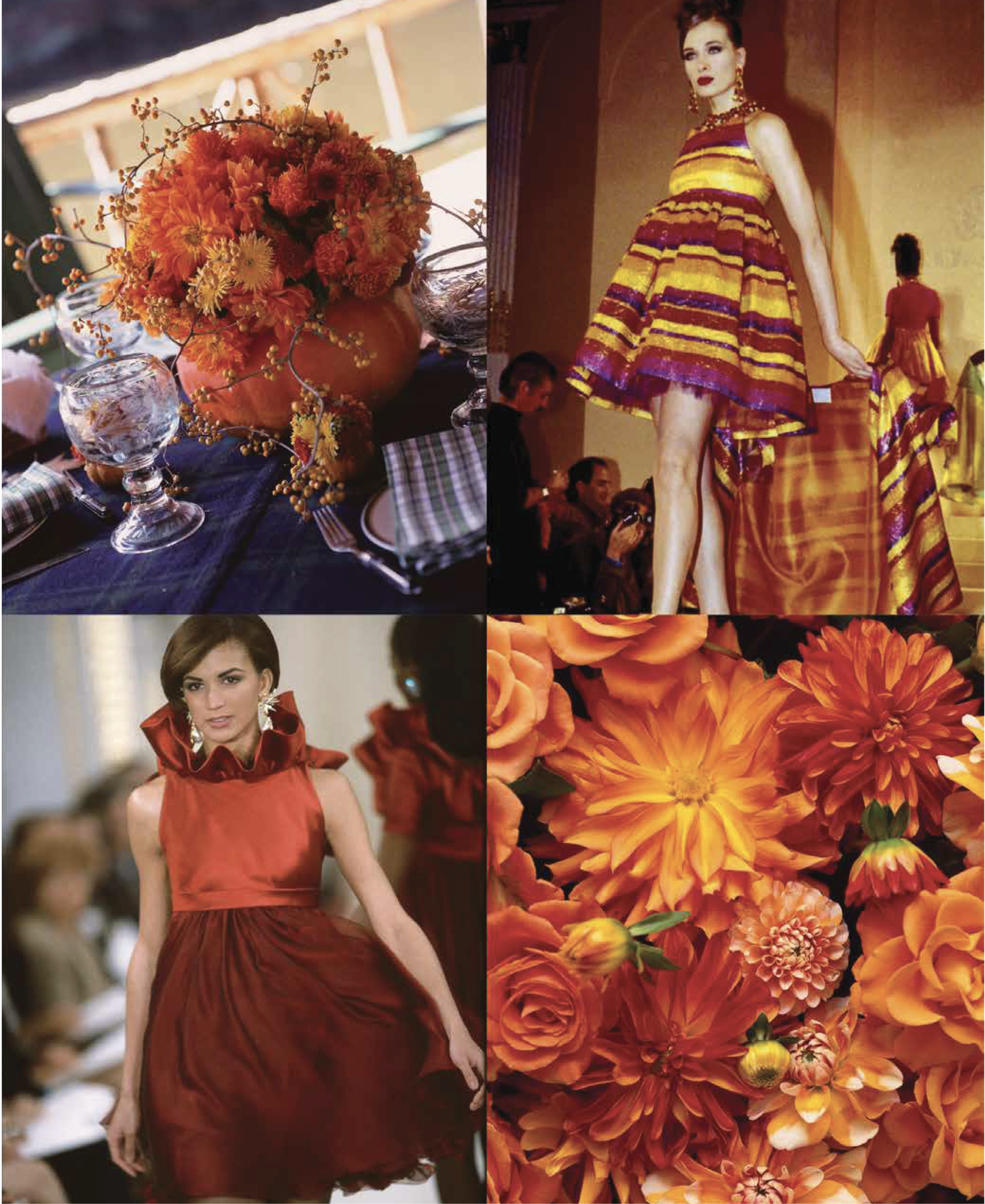 """Whether arranging models and apparel for the runway, or her beloved flowers for a lavish bouquet (as featured in Design & Style), Roehm bows to Mother Nature, """"the ultimate arbiter of style—you never see a color combination in the natural world that doesn't work,"""" she writes."""