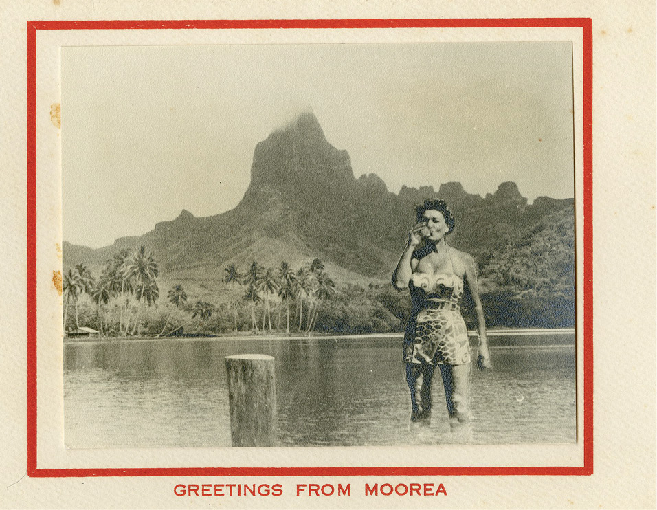 An undated Christmas card picturing her in French Polynesia