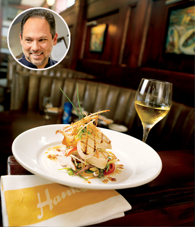 """UPSCALE SEAFOOD: Hank's Seafood; """"It's a great place to enjoy seafood at its finest,"""" says Circa 1886 chef Marc Collins (inset)"""