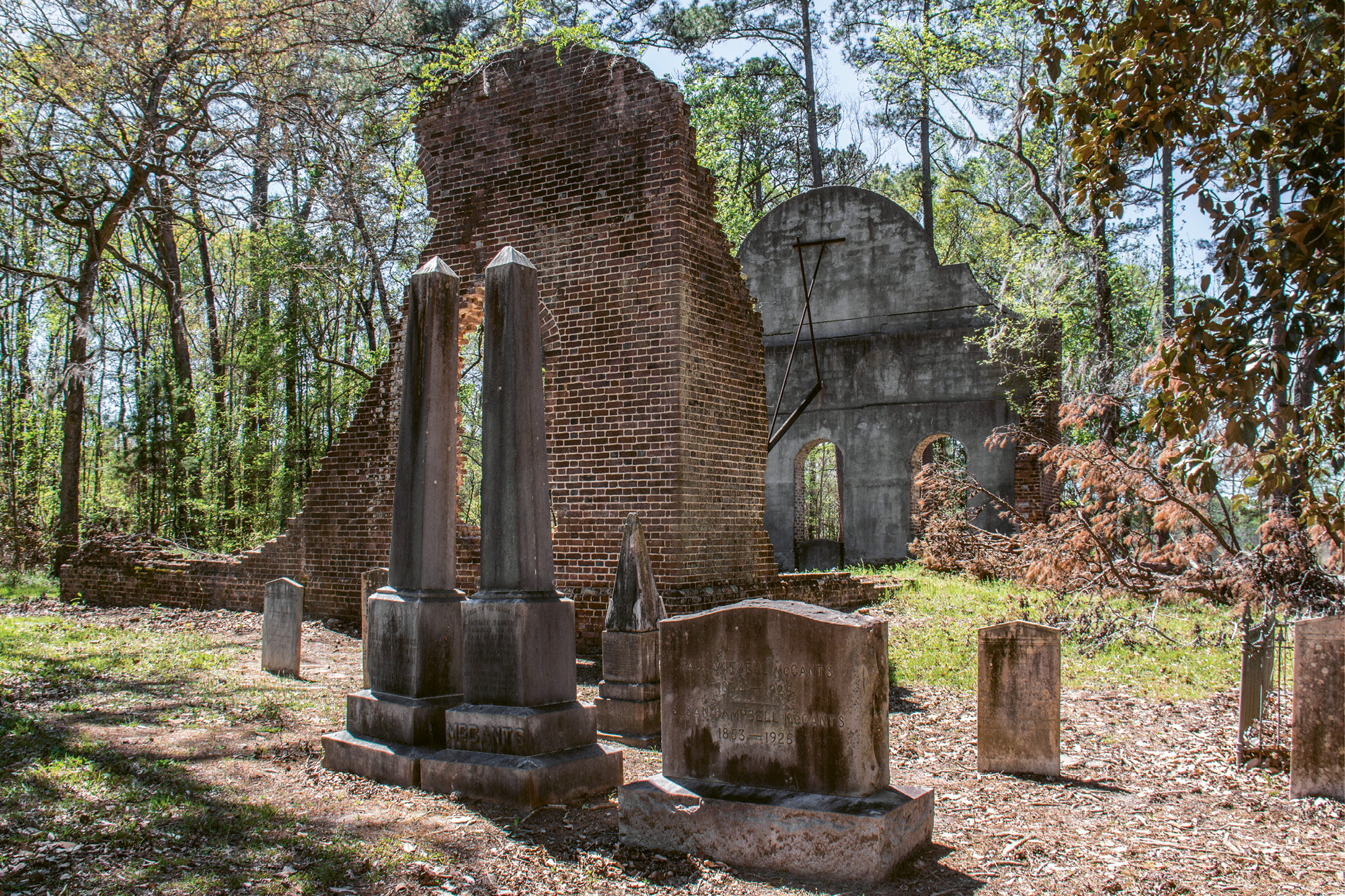 Pon Pon Chapel-of-Ease: Crumbling walls, part of a cistern, and a churchyard are all that remain of this chapel off Parkers Ferry Road, formerly a busy stagecoach road between Charleston and Savannah.