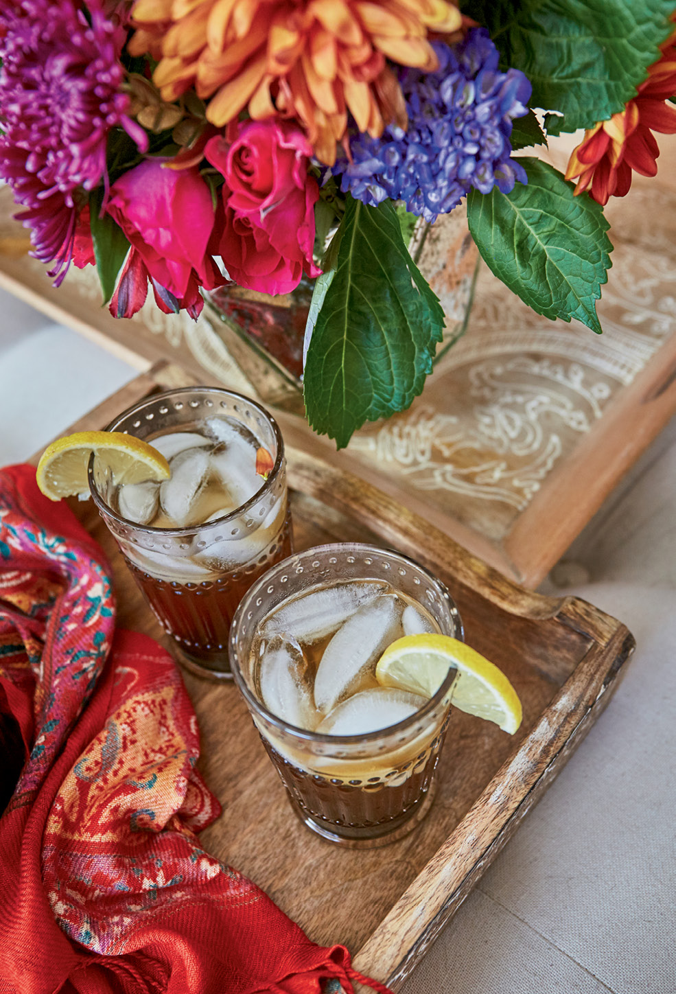 Make tamarind lemonade by mixing eight cups of warm water, two cups of lemon juice, two cups of sugar, and three tablespoons of tamarind concentrate. Stir until the sugar dissolves, then chill.