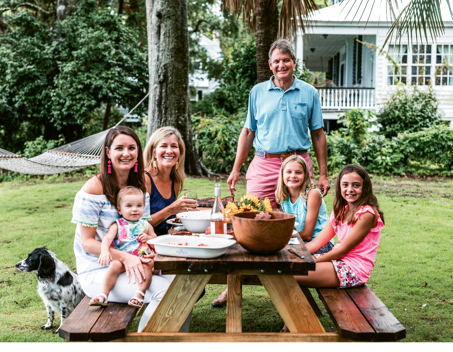Jimmy Hagood, his wife, Anne Marie, and daughters Catherine and Mary Neill (with granddaughter Louisa) gather with friends on the river.
