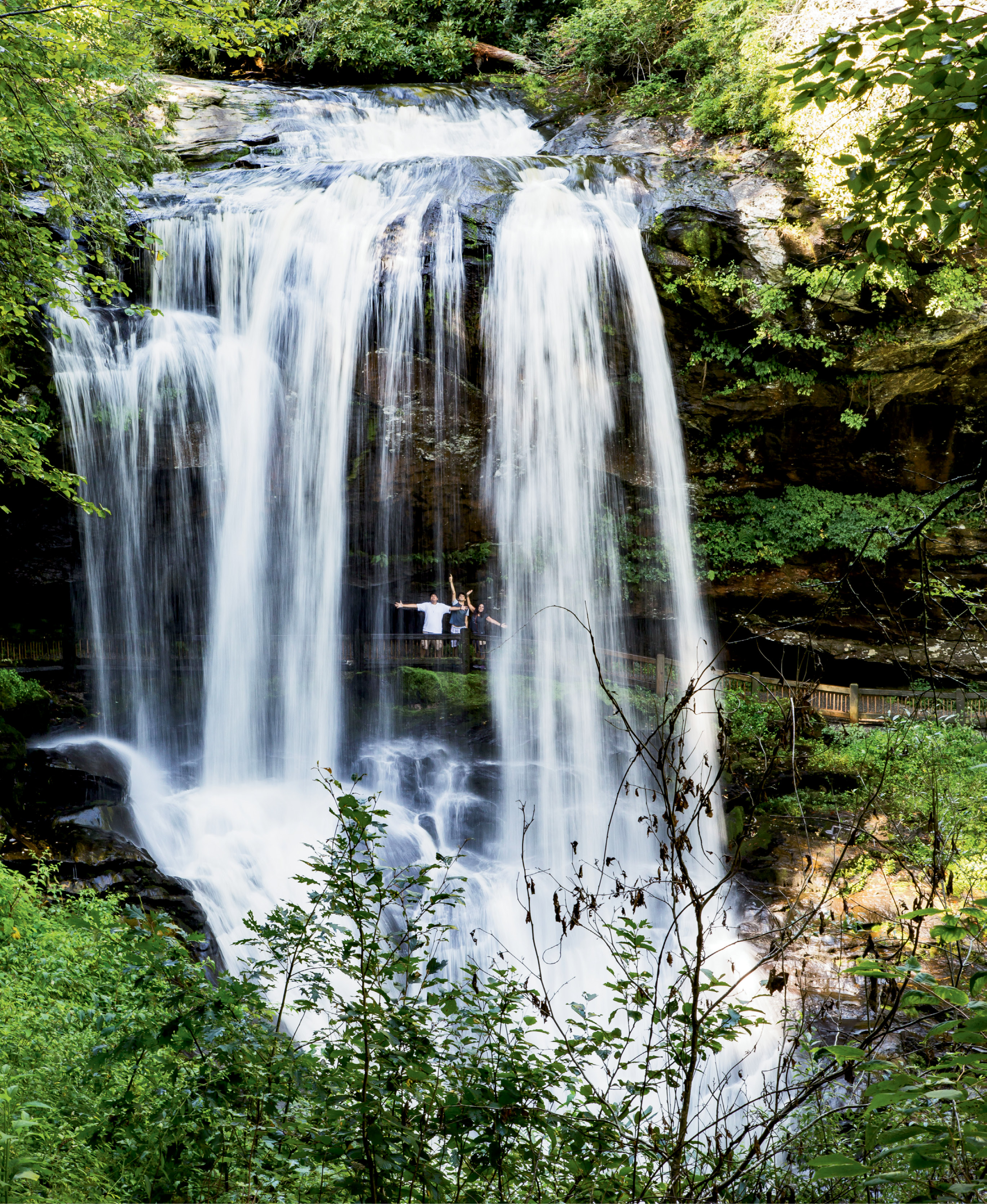 Within four miles of downtown, in the Nantahala National Forest, visitors can walk on a stone path behind Dry Falls and stay (mostly) out of the spray.
