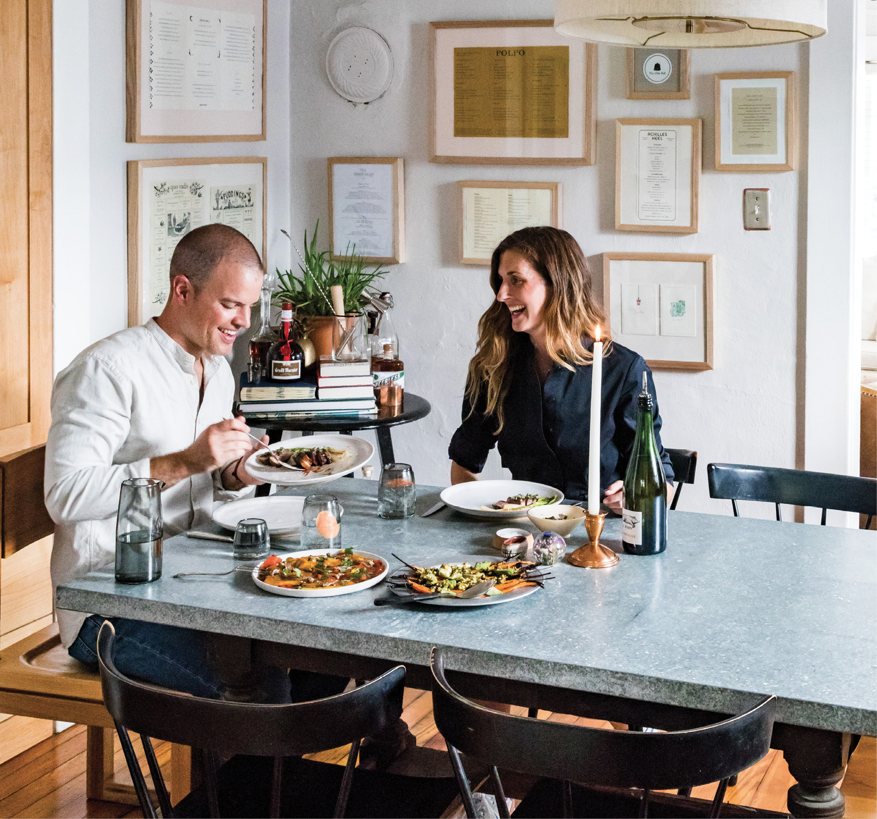 Cozy dinners at home are a welcome reprieve for the busy entrepreneurs. Plus, special touches like lit candles and beautifully garnished dishes make the case for spending date night in.