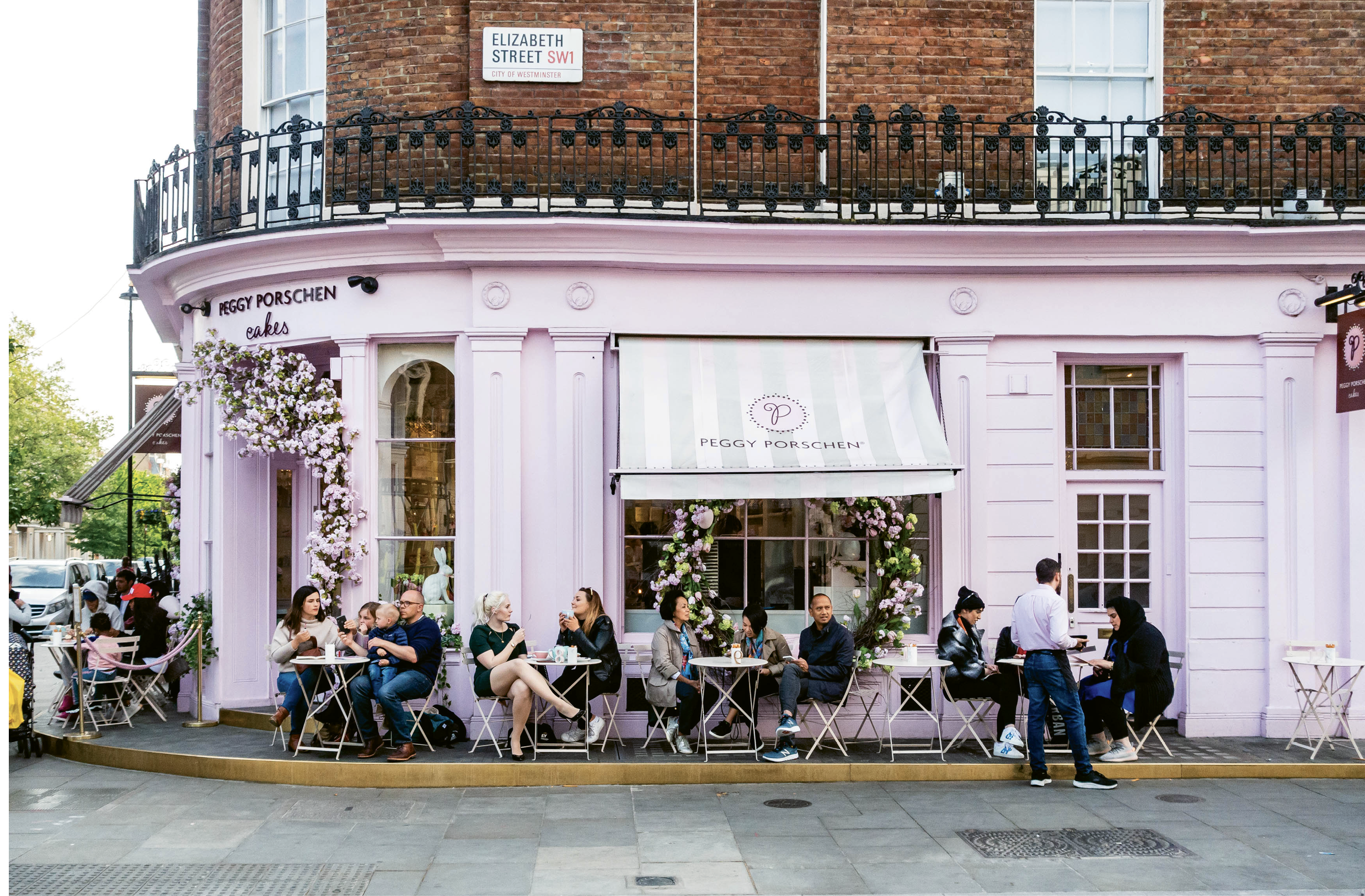 The pink Peggy Porschen cake parlor which attracts a stream of Instagram photo seekers