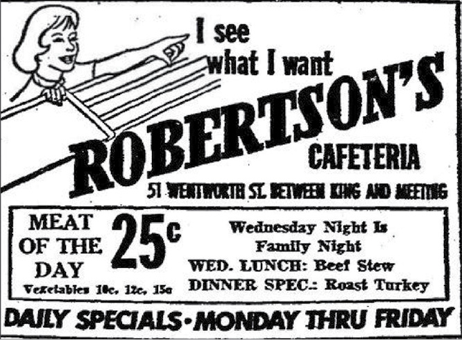 Robertson's was the next best thing to eating at home, except for the macaroni and cheese, which was better.