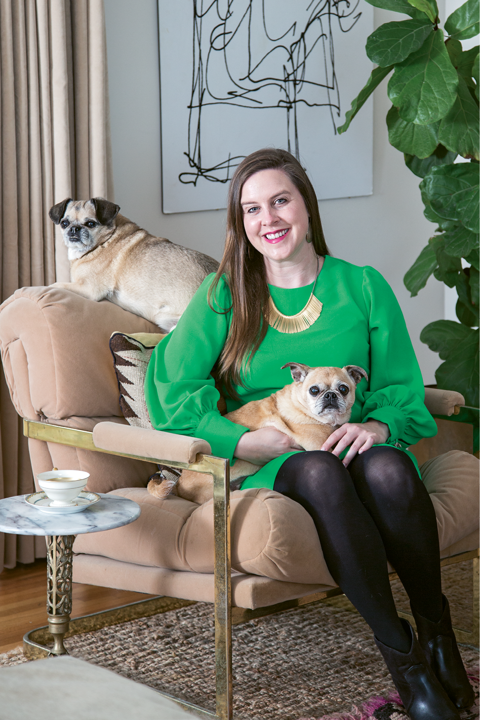 Tinkler at home in West Ashley with her pups, Cornbread and Moose