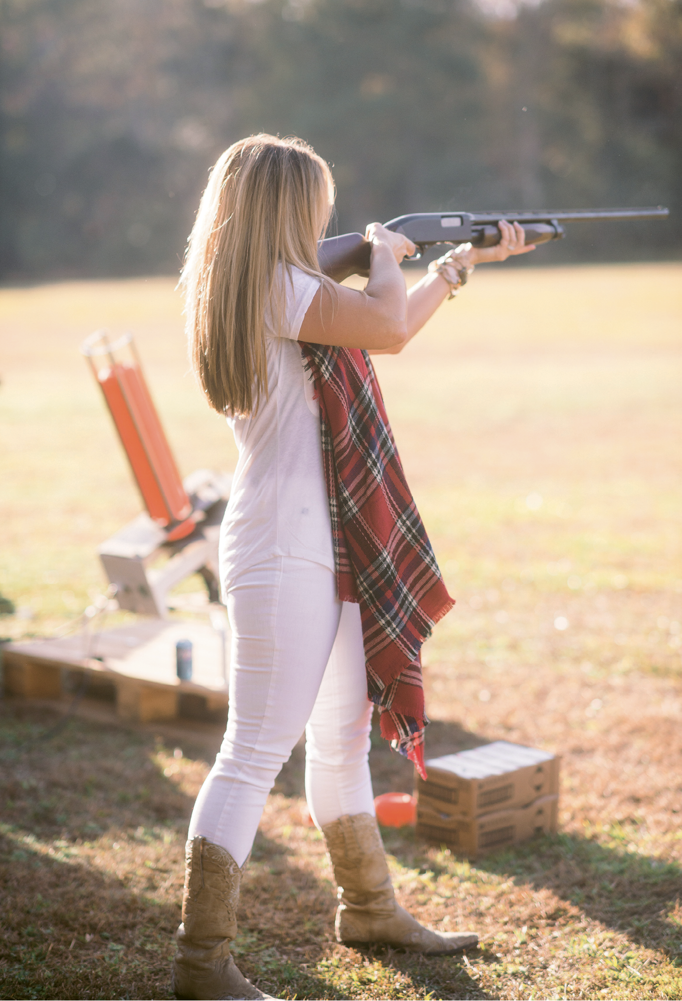 "Good Shot: Roughly 25 guests took part in a skeet shoot tournament early in the day. Participants shot three rounds of clays; the top two then faced off in a final round. ""It was so much fun!"" says Melissa, who's been shooting since she was a teenager."