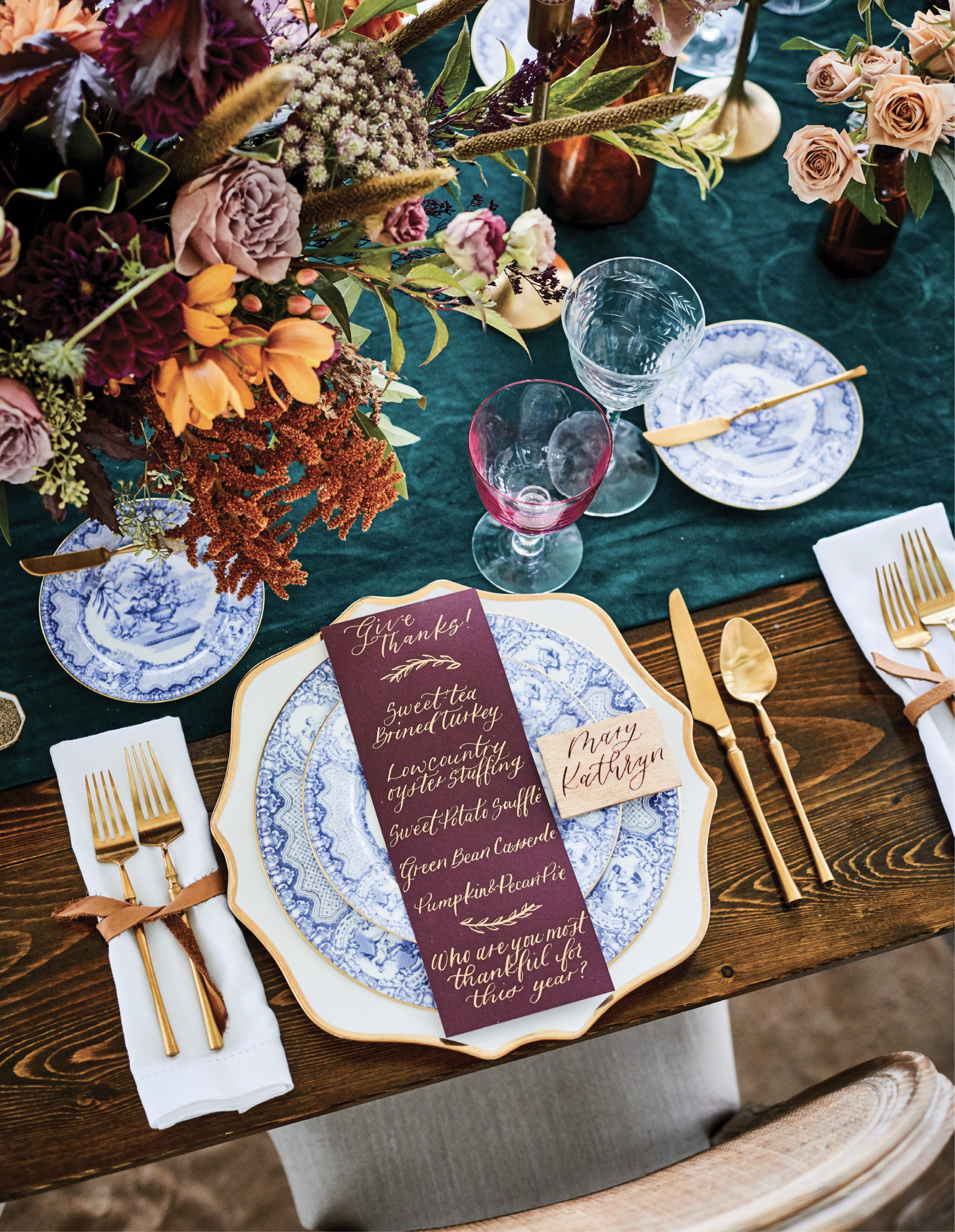 For her tablescapes, Lisa loves to mix it up, combining classic and modern, fancy and casual, such as antique china on a trendy gold-rim charger.
