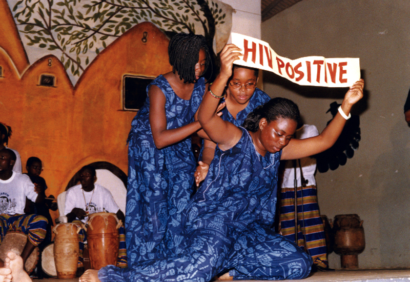 Members of Djole teamed with Nkabom, a Ghanian troupe, to produce a music and dance drama illustrating the ravages of AIDS