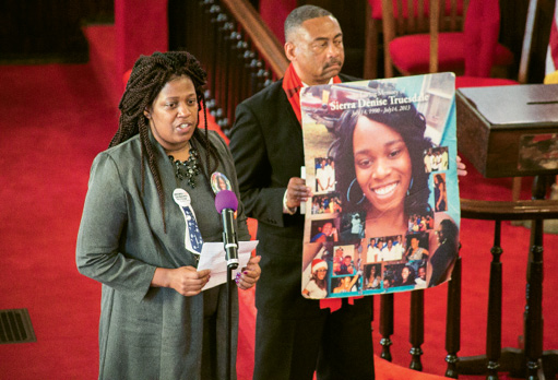 At a recent rally held at Mother Emanuel, Tamika Myers advocated for closing the gun-check loophole. Her daughter, Sierra, was shot to death three years ago in a St. George-area nightclub. Photograph by Michael Powell