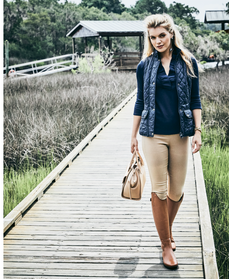 "Vest Dressed - Gretchen Scott jersey ""Ruffneck"" top in ""navy,"" $99, and Gretchen Scott spandex pant, $109, both at Gretchen Scott; Barbour ""Otterburn Gilet"" vest in ""navy,"" $129 at M. Dumas & Sons; Modern silver ball drop earrings, $38 at Tara Grinna Swimwear; estate 14K gold, sapphire, and pearl bracelet, $8,500 at Croghan's Jewel Box; Sommer ""Athen"" tall leather boots, $300 at Bits & Pieces."