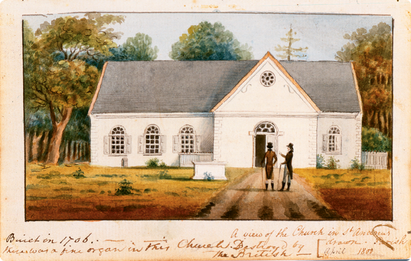 A View of the Church in Saint Andrew's Parish (watercolor on paper, circa 1800) by Charles Fraser; courtesy of Gibbes Museum of Art