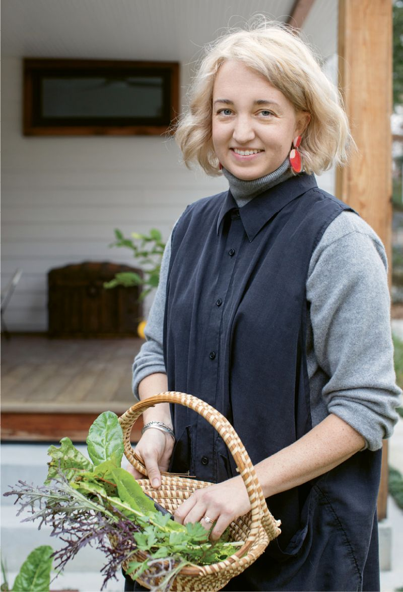 HOMEGROWN: Carrie, who coordinates Lowcountry Local First's Growing New Farmers Program by day, enjoys cultivating food for her own family at home. She and Jacques worked with Ables Landscapes to install raised corten steel beds filled with lettuces and other seasonal produce items.
