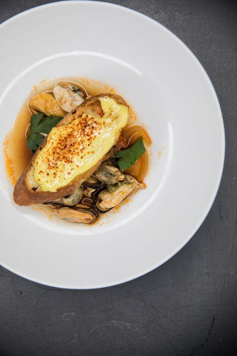 Mussels en Escabeche on crispy toast by Jill Mathias.