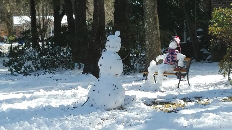 <strong>Mount Pleasant:</strong> Snowmen were spotted both standing and sitting in the park; <em>photograph byBrandon Clark</em>