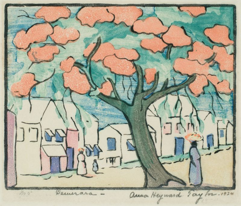 Taylor arrived in Georgetown, British Guiana, with Beebe's expedition team in 1916. Eight years later, she produced this woodblock print on paper, titled Demerara for that region of the South American colony.