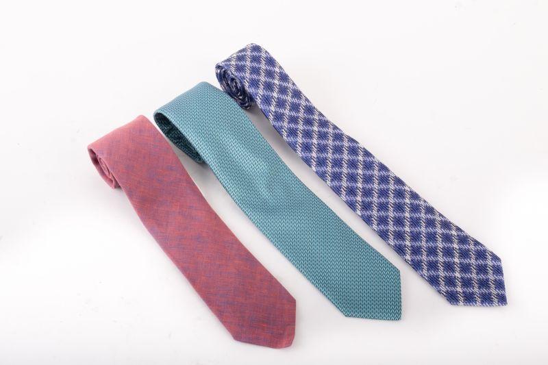 (Left to right) Eton silk ties, $180 & $145 & Canali blue silk tie, $165 at Gwynn's of Mount Pleasant