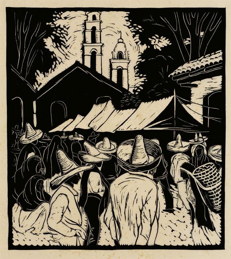 """The artist traveled throughout Mexico from June 1935 to September 1936, capturing the culture and day-to-day lives of its residents in pieces, such as this """"white line"""" woodblock print, Mexican Marketplace (circa 1935)."""