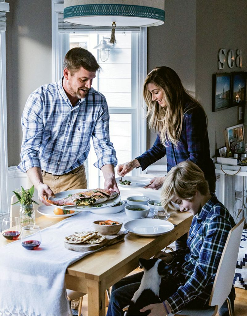 Groseclose makes dinner with her husband, Jason, and son, Christian.