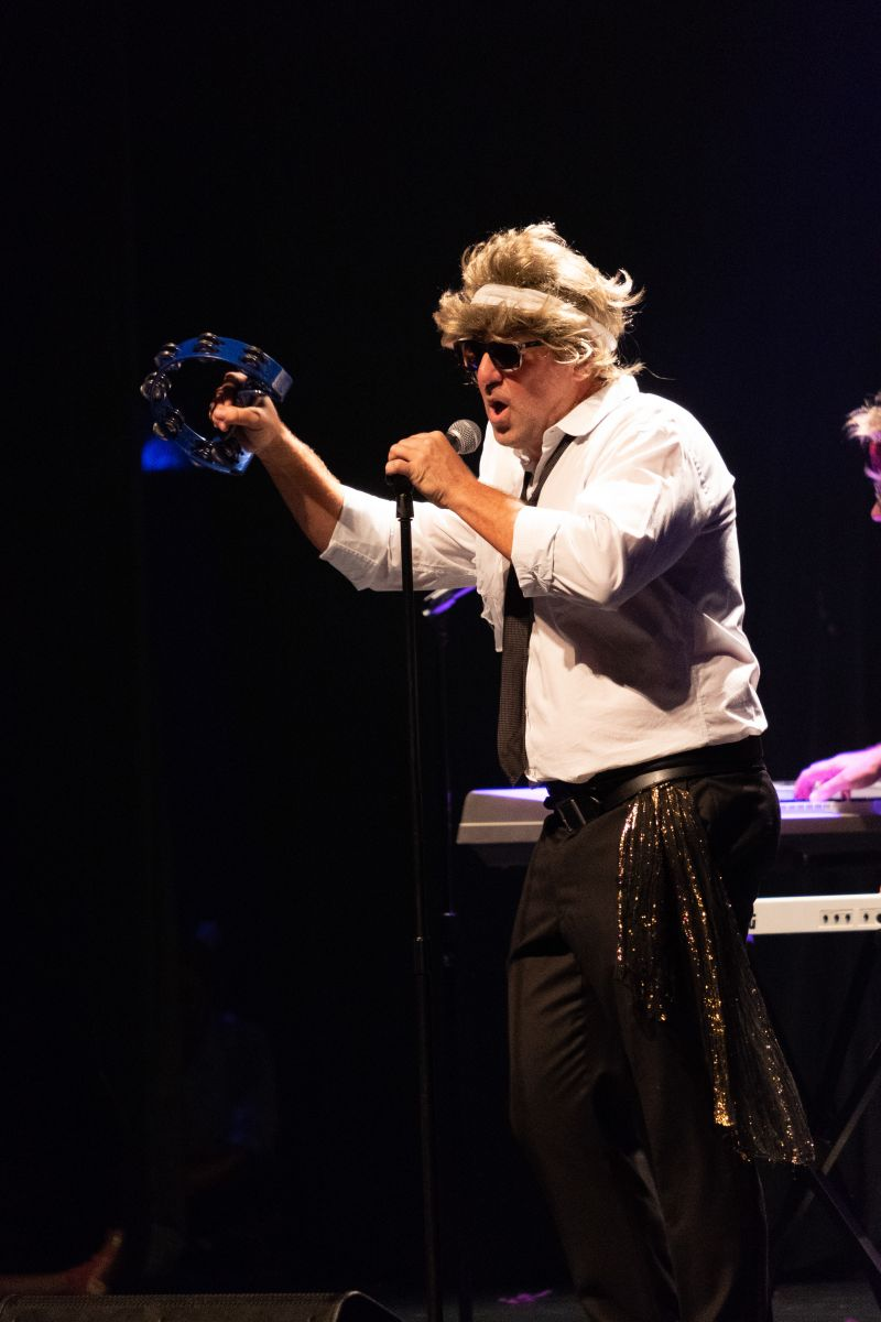 Mike Lata, wig and all, during his Duran Duran medley