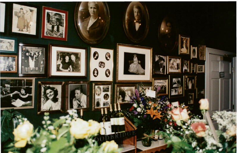 The dining room was decorated with photos of her family.