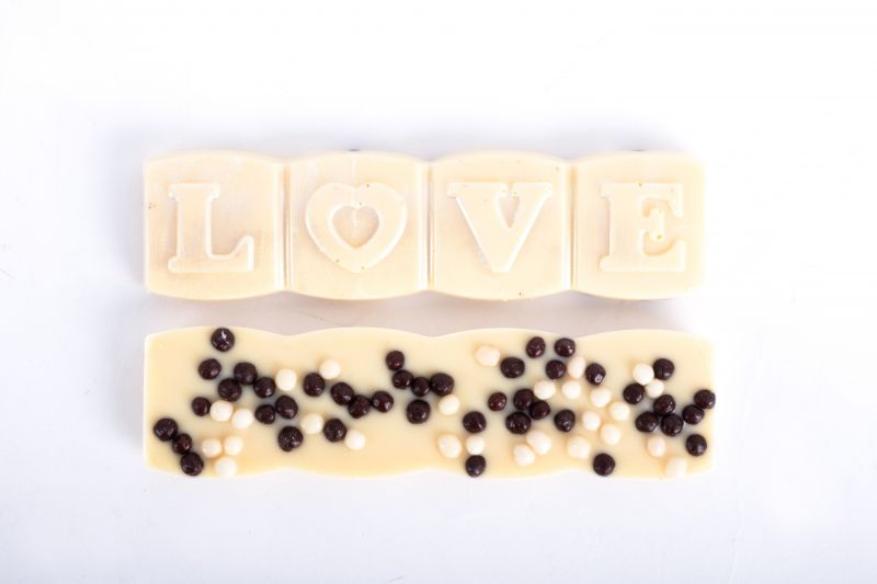 "White chocolate ""Love"" bar with sprinkles, $4 at Christophe Artisan Chocolatier"